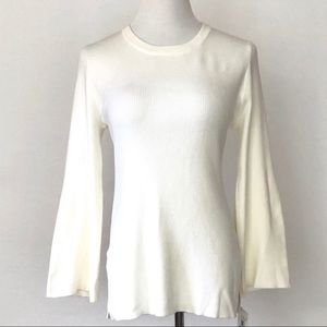 Ellen Tracy Long Sleeve Ribbed Flare Sweater